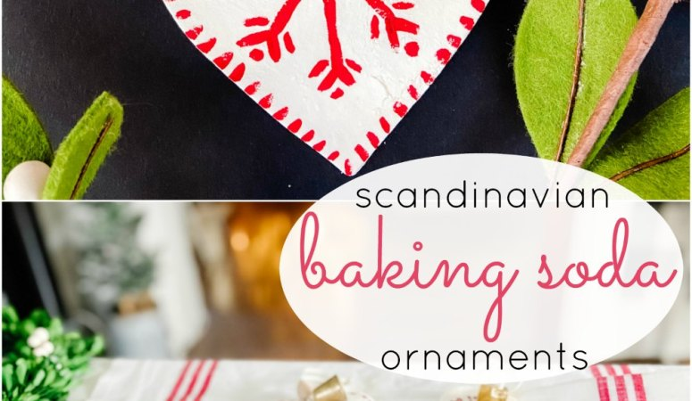 Scandinavian Painted Baking Soda Heart Ornaments