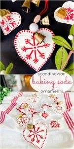 Scandinavian Painted Baking Soda Heart Ornaments