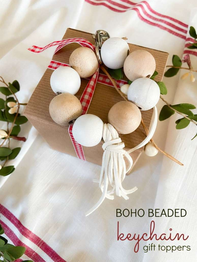 Boho Beaded Keychain Holiday Gift Toppers. Use beads, ribbon and twine to make the cutest handmade keychains that also make adorable gift toppers for the holidays.