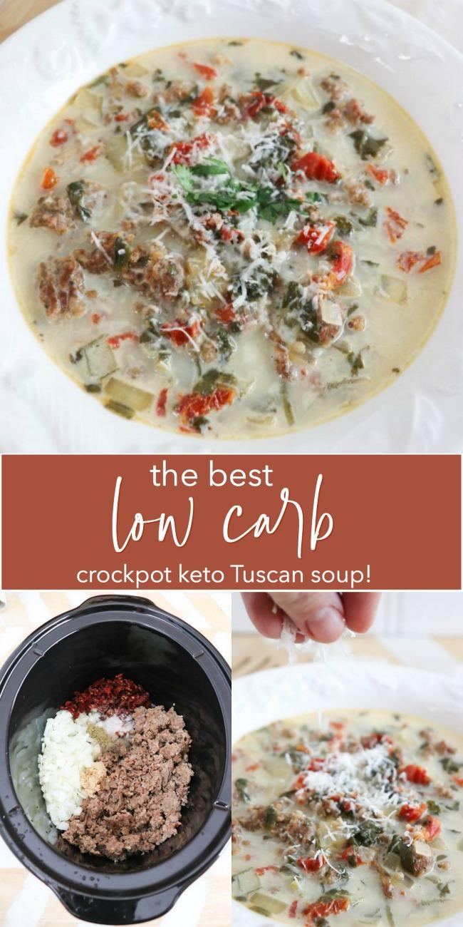 La meilleure soupe toscane Keto Crockpot.  La saucisse épicée et les tomates séchées au soleil dans un bouillon crémeux sont si délicieuses PLUS faibles en glucides et céto!