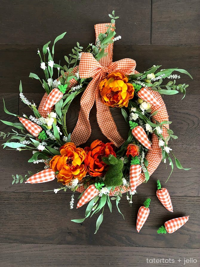 Double Spring wreath with ginham outer layer and green inner layer.