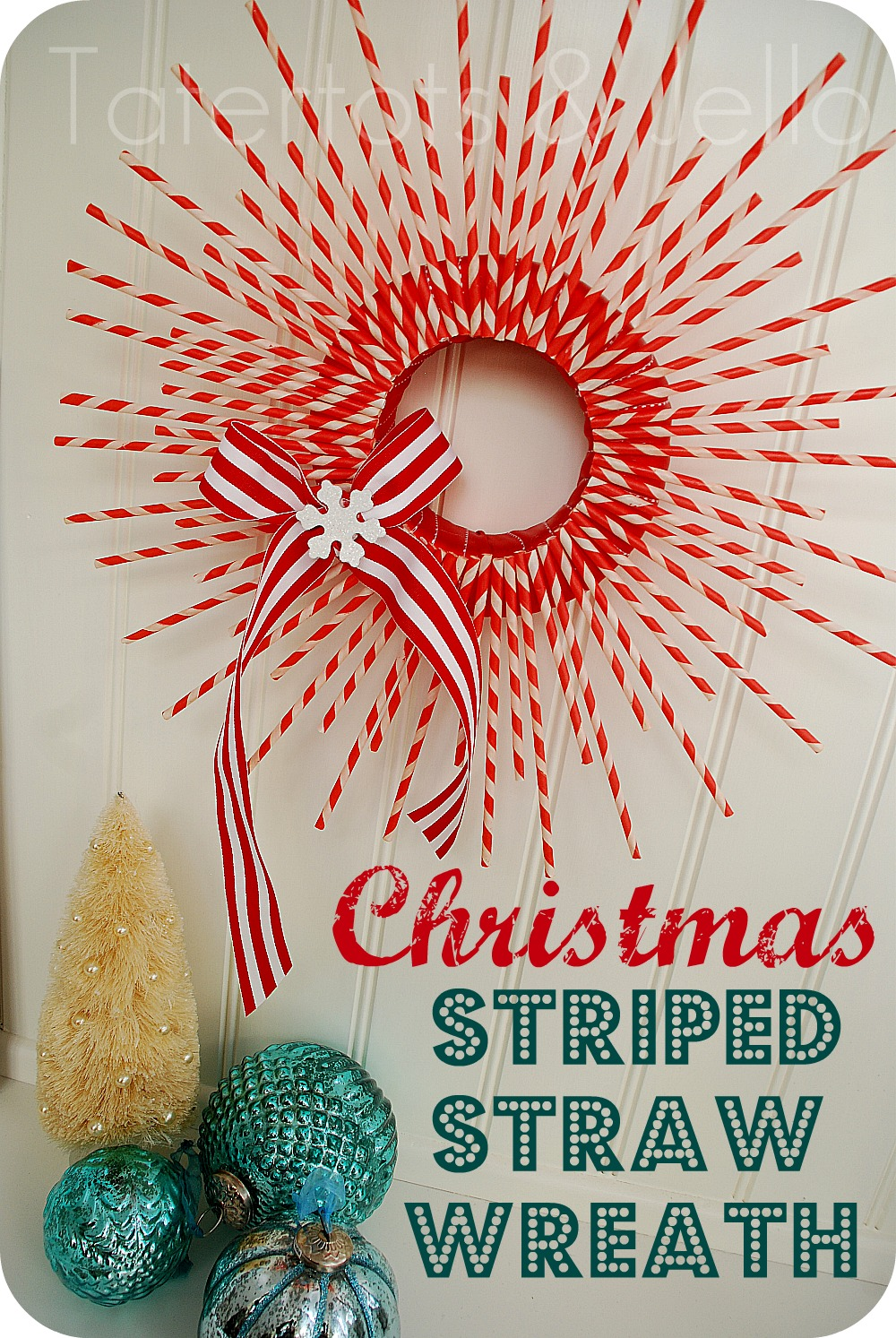 Make A Striped Paper Straw Wreath Christmas Tutorial