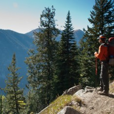 Dan surveys the ridge on the other side of the Martin Creek drainage.