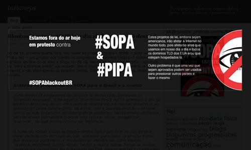 Hoje, 18 de janeiro, das 9h às 21h, o blog exibiu uma mensagem de protesto contra os projetos SOPA e PIPA, Stop Online Piracy Act e Protect IP Act, respectivamente.