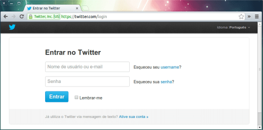 Página de login no Twitter com https.