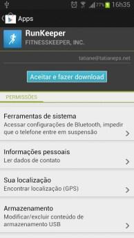 Lista de permissões do aplicativo Run Keeper ao realizar a instalação por meio do Google Play no dispositivo.