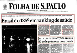 Brasil é o 125º em ranking de saúde. Juros caem para 17,5% anuais. (21/junho/2000)