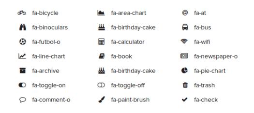 Alguns ícones do Font Awesome.