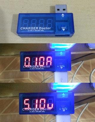 Medidor de corrente e de voltagem USB