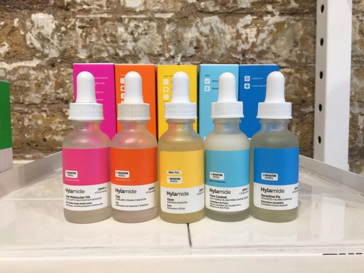 Five bright bottles