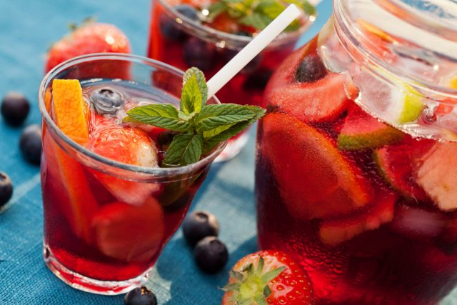 Refreshing sangria (punch) with fruits