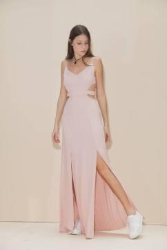 vestido longo fendas rosa