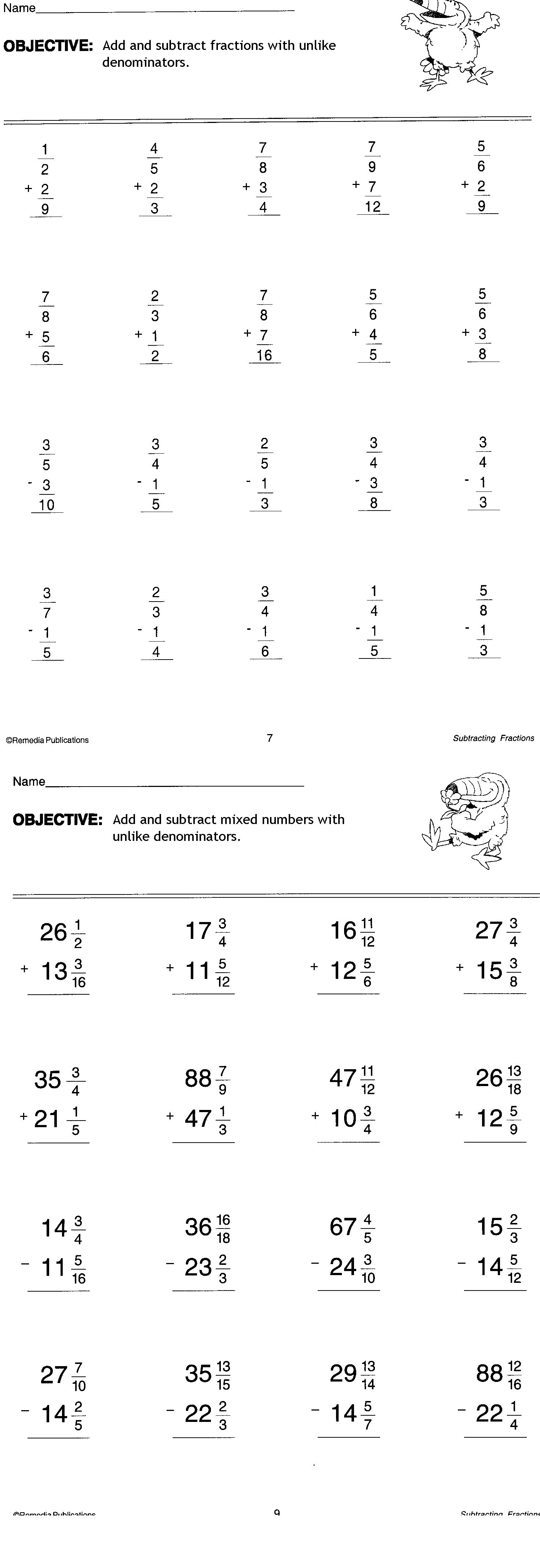 Adding Fractions Worksheet 7th Grade
