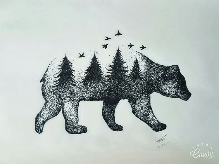 Native American Tribal Bear Tattoo