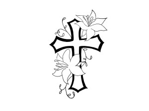tattoo cross drawings drawing cool easy rosary designs clipart flower rose tattoos christian bible roses faith crosses sketch flowers headstone