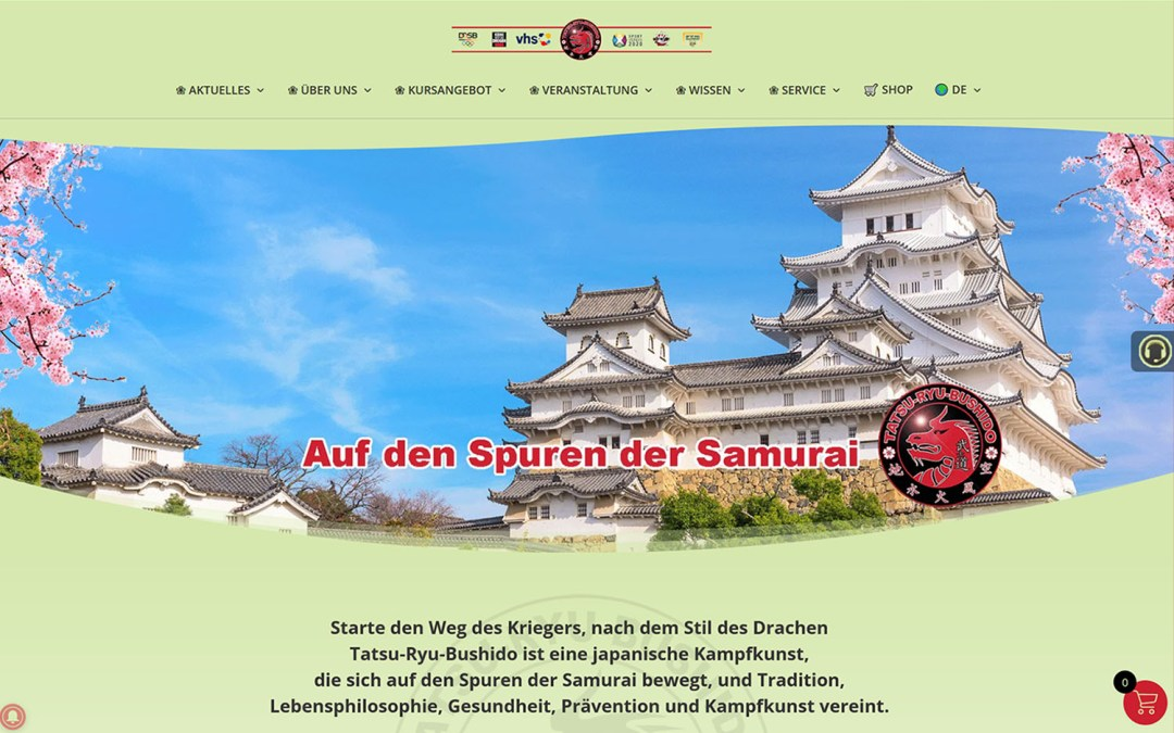 Aktueller Stand der neuen Tatsu-Ryu-Bushido Homepage