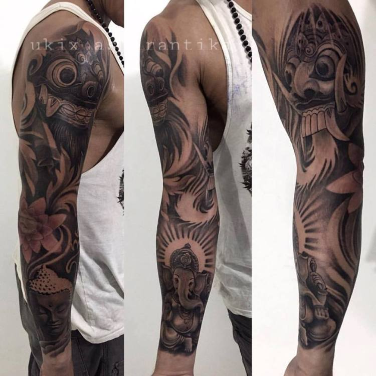Balinese Tattoo Sleeve with Balinese Spirits by Ukix Asmirantika shared by Bali Goutama Ubud 2016