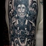 Black and grey Lord Hanuman tattoo by Prima, Ma Tatoo Bali
