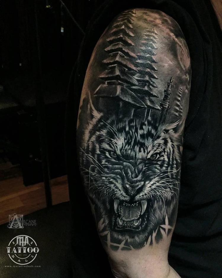 Oriental tiger half sleeve by Prima MA TATTOO