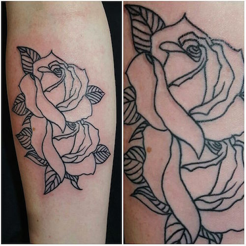 Roses line tattoo by Setiyo Pramono