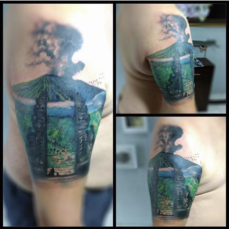 Agung Volcano in color by Warsa tattoo Ubud