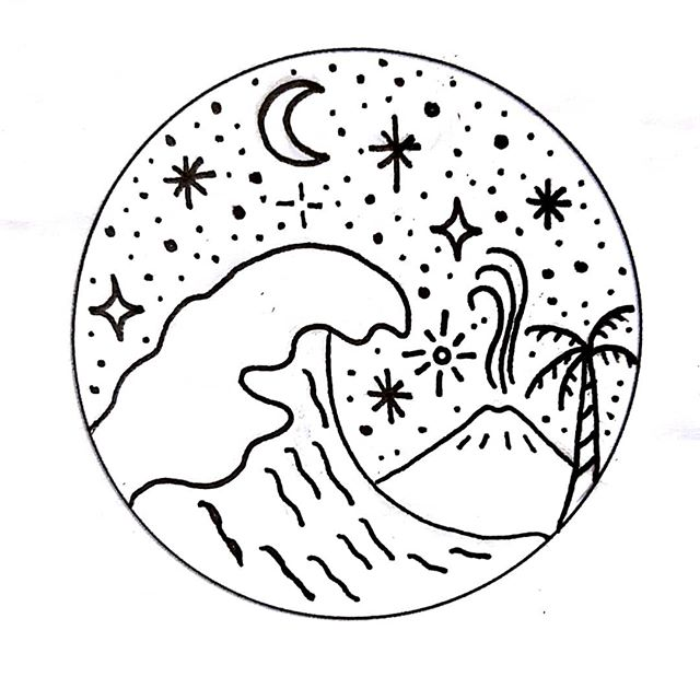 Bali tattoo flash volcano design by gosse