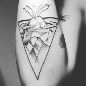 Geometric volcano Agung by Warsa Tattoo Ubud