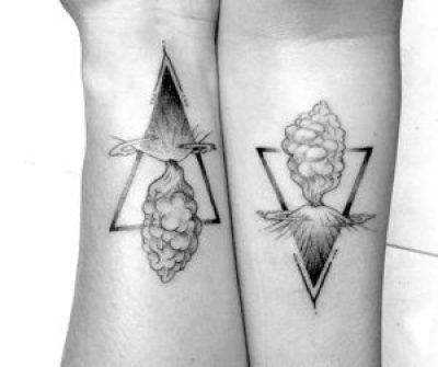 Line and dotwork volcano tattoos by bachtz Bali