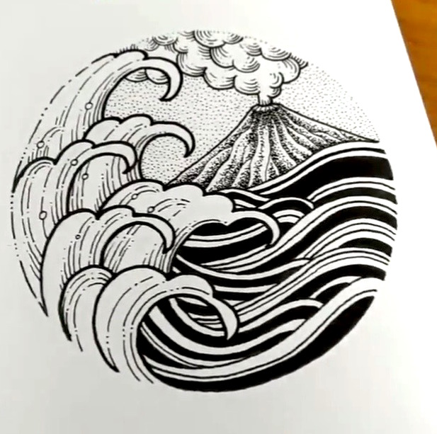 Bali volcano tattoo design by Steel Ink