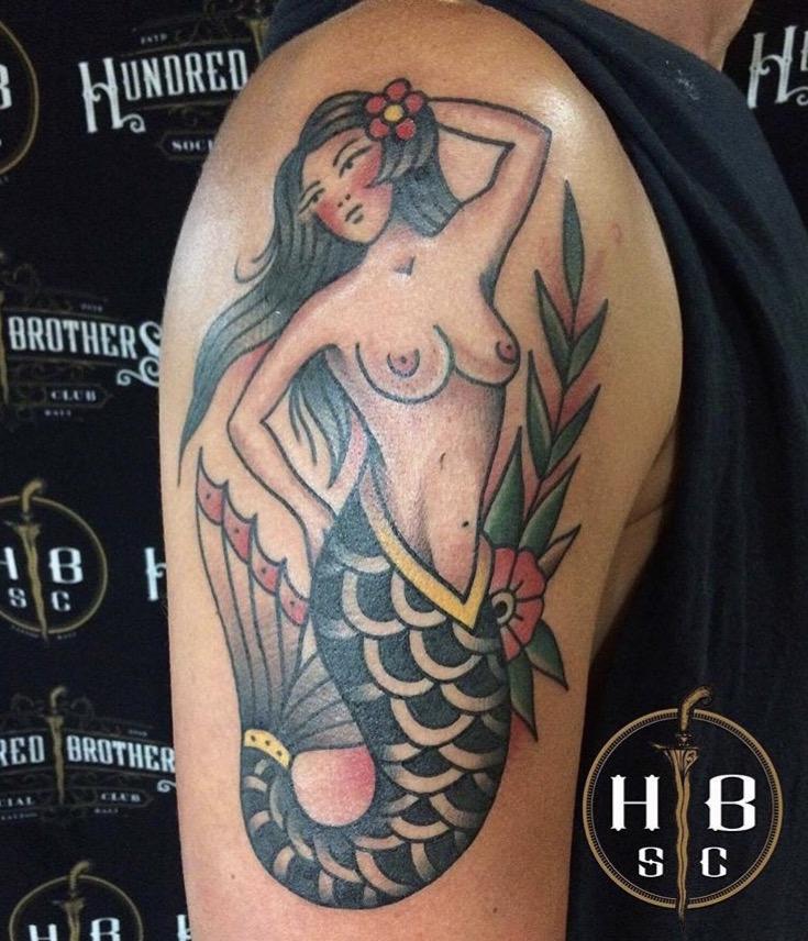 Color mermaid tattoo by Guntur HBSC