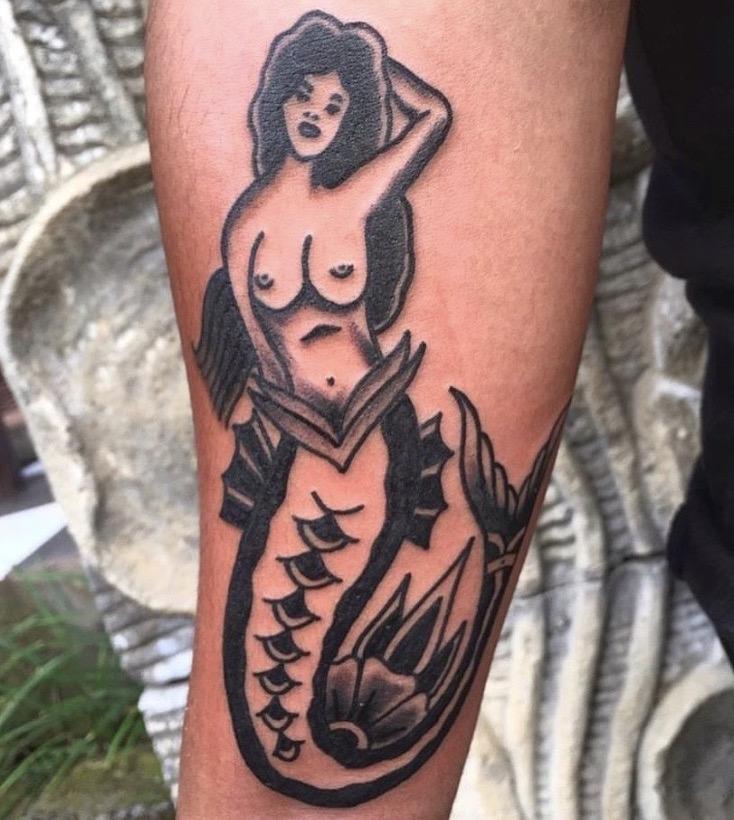 mermaid pinup tattoo by Chain Electric Tattoo HBSC Bali