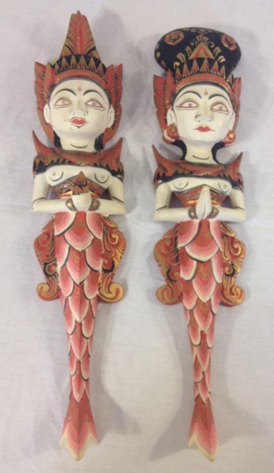 Balinese mermaids wood carving