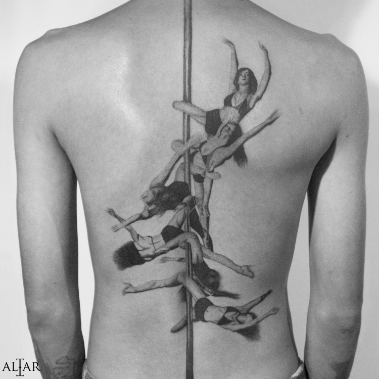 Pole dancer tattoo by Lyra, Bali