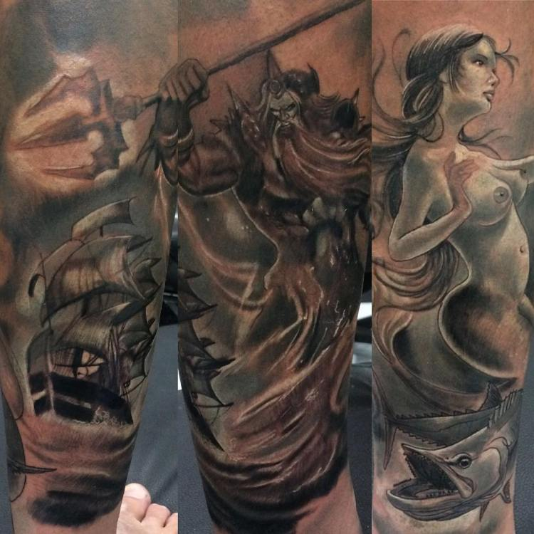 Bali Mermaid tattoo sleeve by Pank