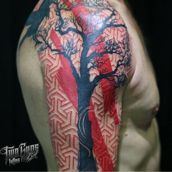 geometric Trash Polka tattoo