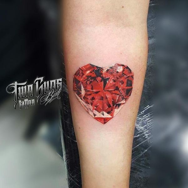 red heart jewel tattoo by kenyoz baliken art two guns bali