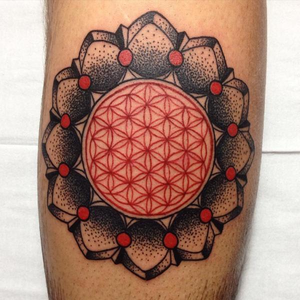Red geometric tattoo by Endry Dharma