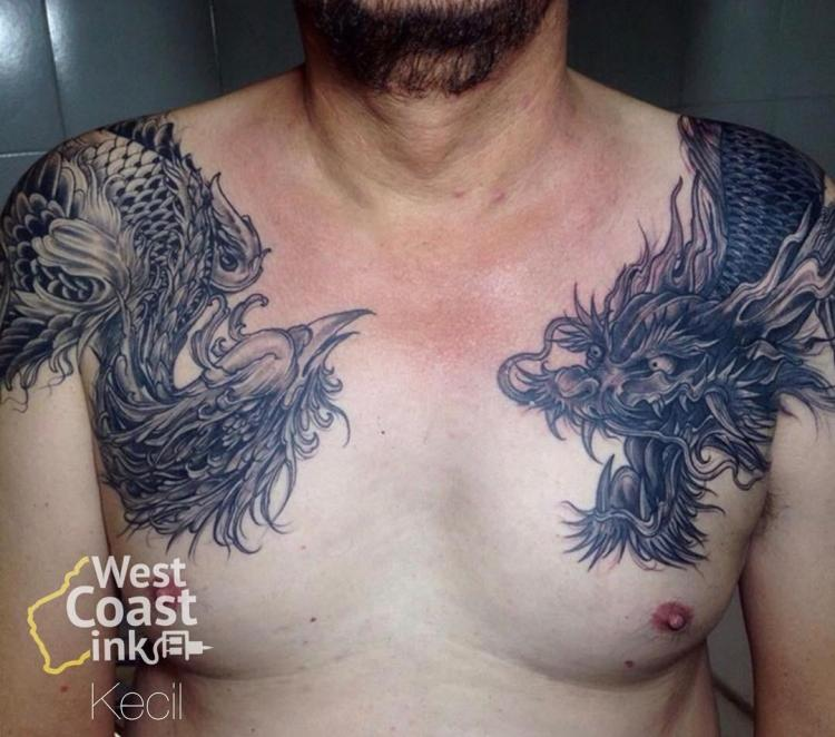 Phoenix and Dragon Chestpiece by Kecil Ezr West Coast Ink Bali