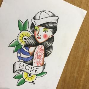 HOPE sailor design with red tattoos