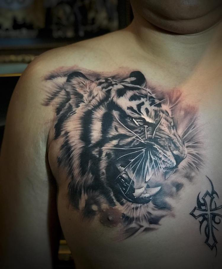 Tiger chest tattoo by Ronald Arnold