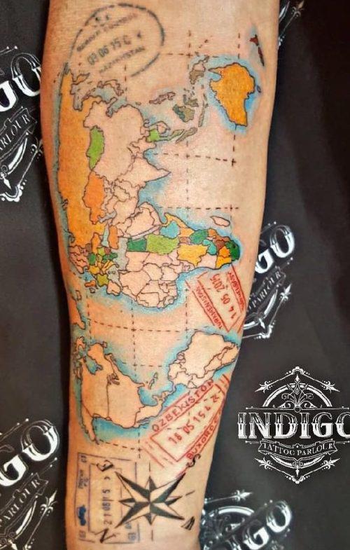 World Map Tattoo by Indigo Tattoo Parlour