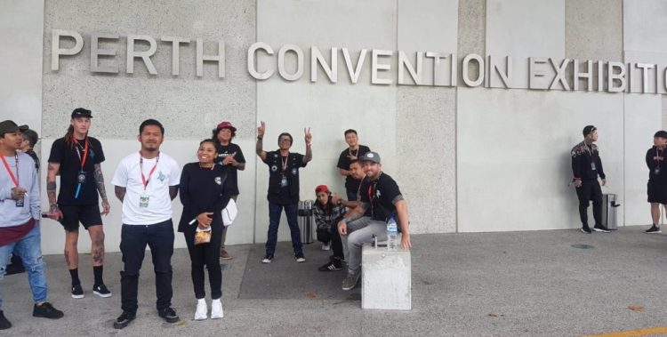 Bali artists outside Perth Convention Center before the 2018 tattoo expo