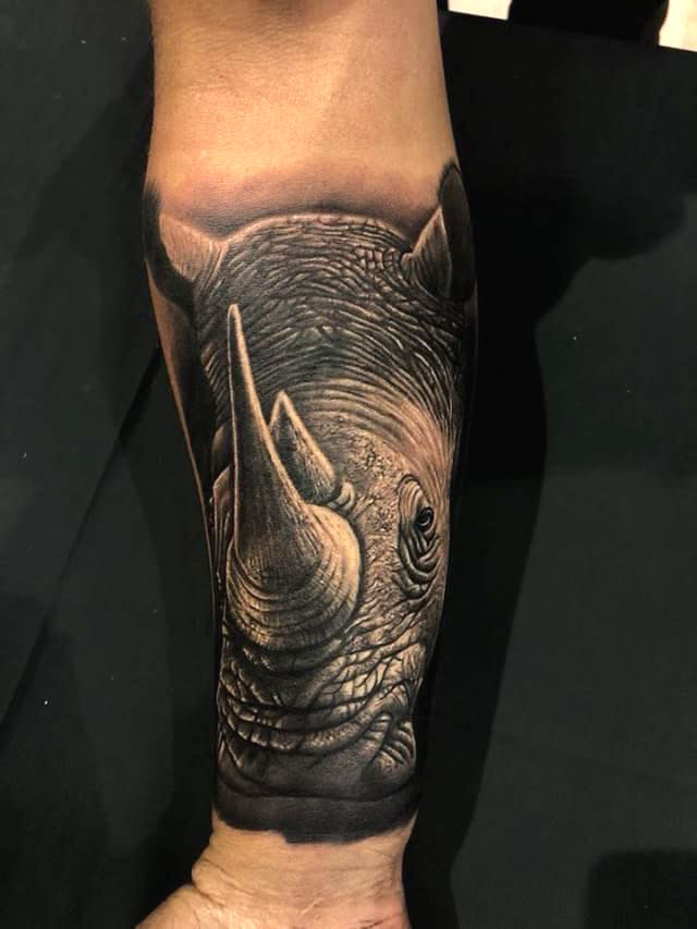 Goper Ink Bali tattoo of rhino wins award at Perth expo best small black and grey