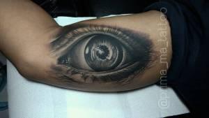 Inside arm tattoo eye by Prima - MA TATTOO BALI