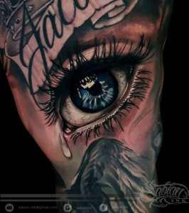 Realistic eye tattoo by Denario at Sabian Ink Bali