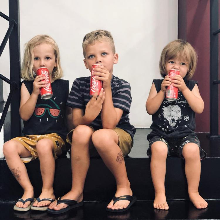 Sam Hills kids at West Coast Ink Bali tattoo studio