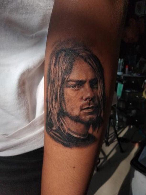 Kurt Cobain tattoo by Jeff Woa Pererenan Bali May 2019