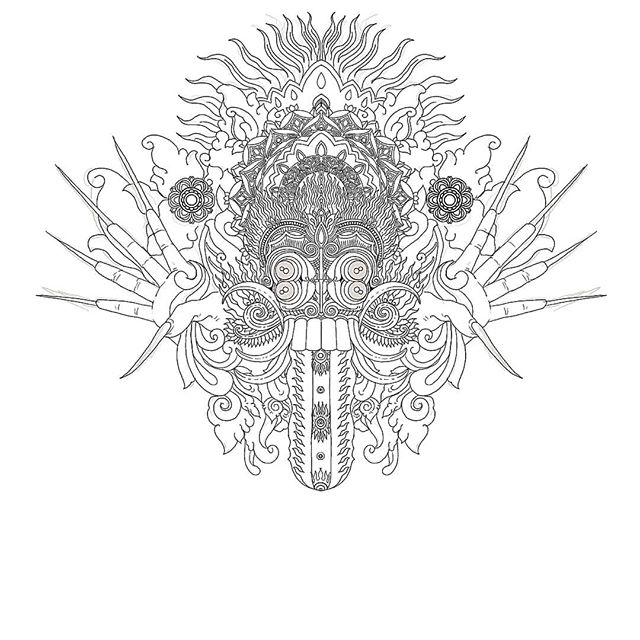 Rangda Balinese witch design by Cap Bagong Tattoo Ubud