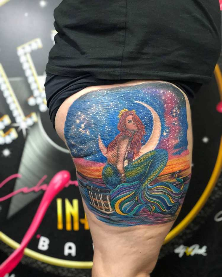 Mermaid and moon color thigh tattoo