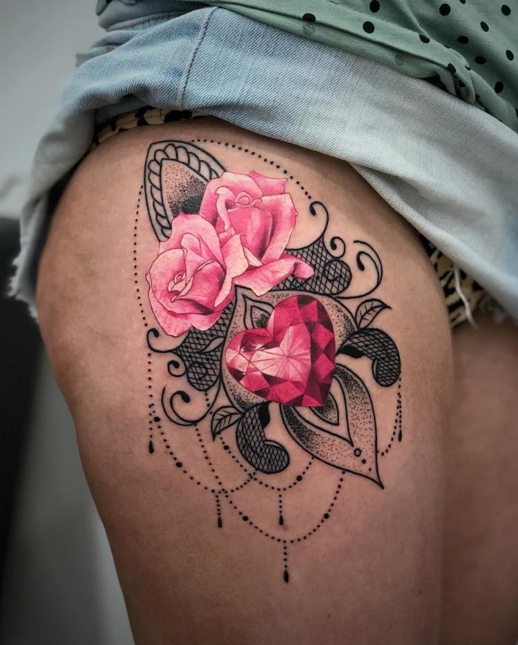 Pink roses and heart gemstone by Ronald Arnold Tattoos - Bali, Dec 2018